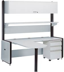 "Advantage A4 Computer Desk 77.50""W x 77.20""D x 78.00-79.50""H with leveling glides 